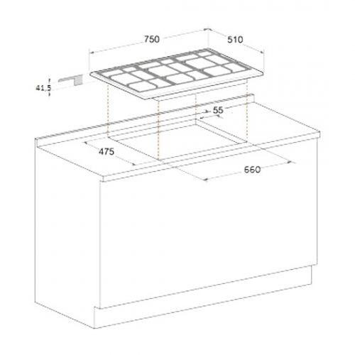 PKQ755DGH(K)AUS - Ariston 75cm Black Glass Direct Flame Gas Cooktop - Product Dimensions